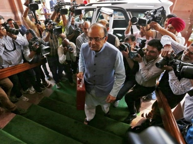 Finance Minister Arun Jaitley arrives at the parliament to present the budget for the 2016/17 fiscal year, in New Delhi (pic: Reuters)