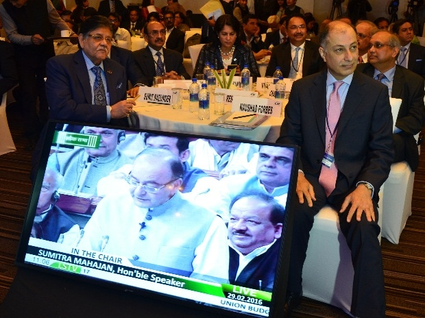 Industry leaders listening to Union Budget in 2016 (pic: Sanjay Sharma)