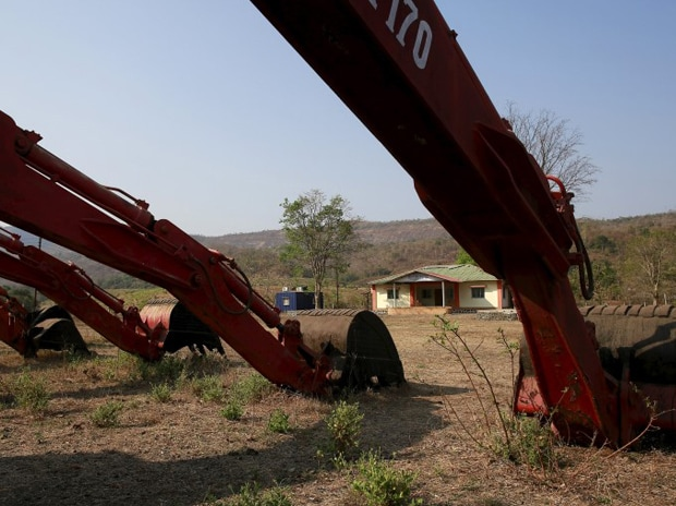 Excavators are seen parked at the construction site of the Kondhane Dam in Karjat. Photo: Reuters