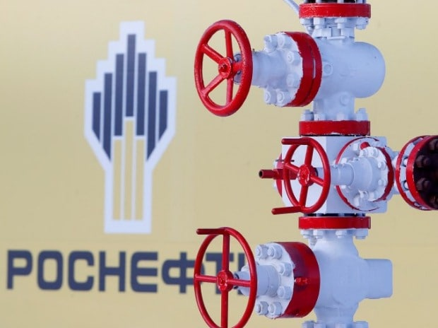The logo of the Russian state oil company Rosneft ...