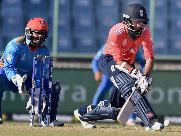 England's batsman Moeen Ali plays a shot during the World Cup T20 mach against Afghanistan at Firozshah Kotla in New Delhi