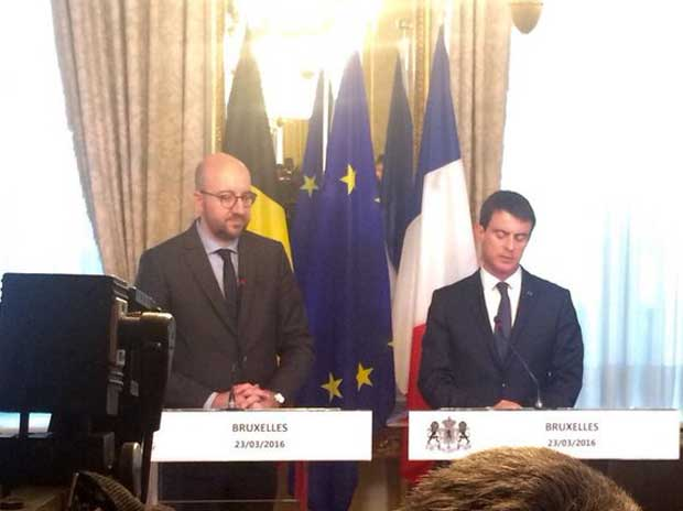 Belgian PM Charles Michel (left) during a presser on Brussels bombings Pic: twitter