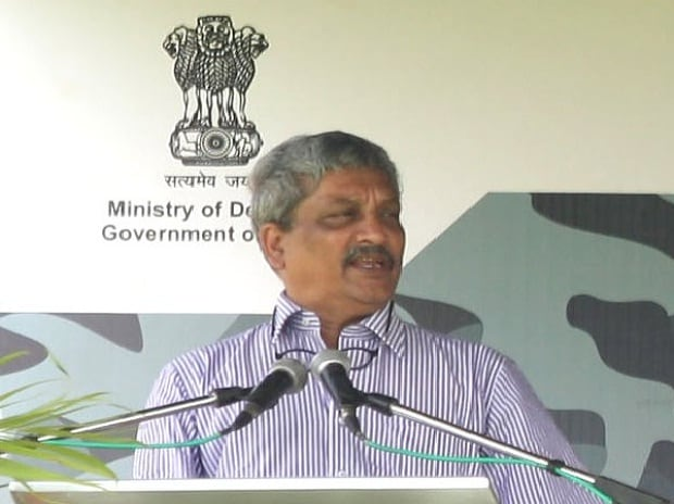Defence Minister Manohar Parrikar addressing at the inaugural of DefExpo 2016 (Source: Spokesperson MoD, Twitter)