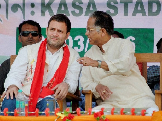Congress Vice President Rahul Gandhi with Assam Chief Minister Tarun Gogoi during an election rally at Kasa Stadium in Diphu, Assam