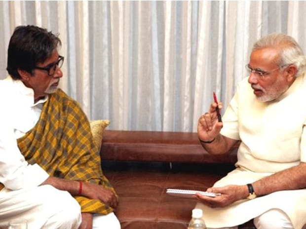 Prime Minister Narendra Modi speaking to Amitabh Bachchan. Photo: narendramodi.in