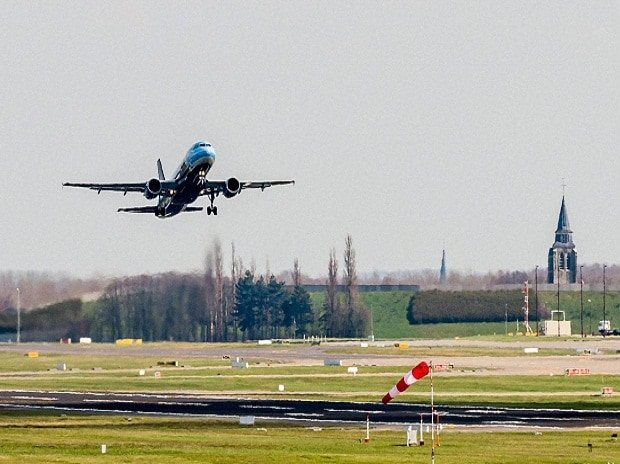 A Brussels Airlines plane takes off at Brussels Airport, in Zaventem, Belgium.