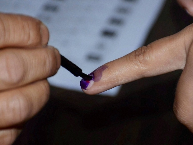 A polling officer putting ink mark on a voter's finger  PTI