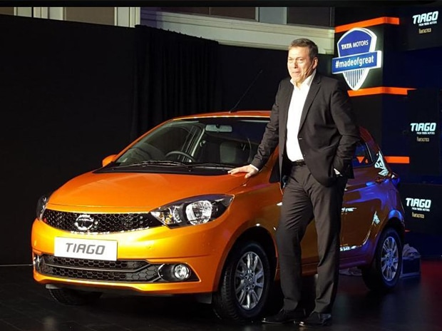 Tata Motors CEO Guenter Butschek at the unveiling of hatchback Tiago. Photo: Tata Motors' Twitter handle