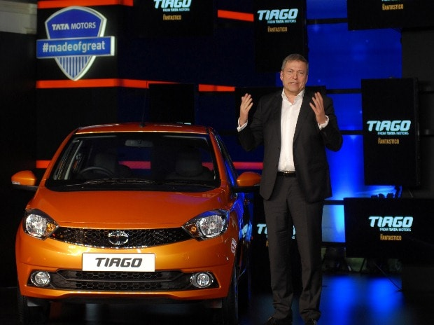 Tata Motors CEO Guenter Butschek at the unveiling of hatchback Tiago. Photo: Kamlesh Pednekar