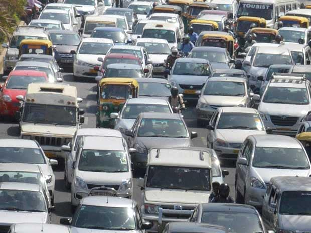 Vehicles stuck in a heavy traffic jam in Gurgaon on Monday, April 11, 2016 PTI