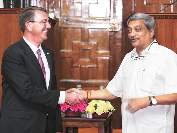 US Secretary of Defense Ashton Carter (left) is welcomed by Defence Minister Manohar Parrikar in South Block on Monday