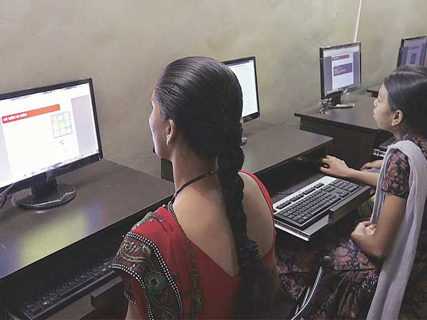 Women attend a class at the Nasscom-aided National Digital Literacy Mission centre in Gurgaon