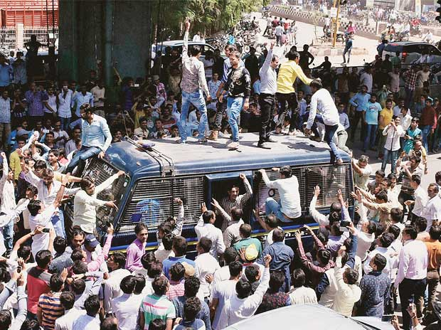 Members of Patidar community during the Jail Bharo Andolan to demand the release of Hardik Patel , convenor of Patidar Anamat Aandolan Samiti, in Surat on April 17
