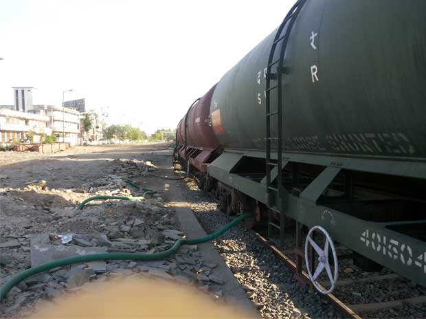 A train ferrying water from Ajmer to Bhilwara district