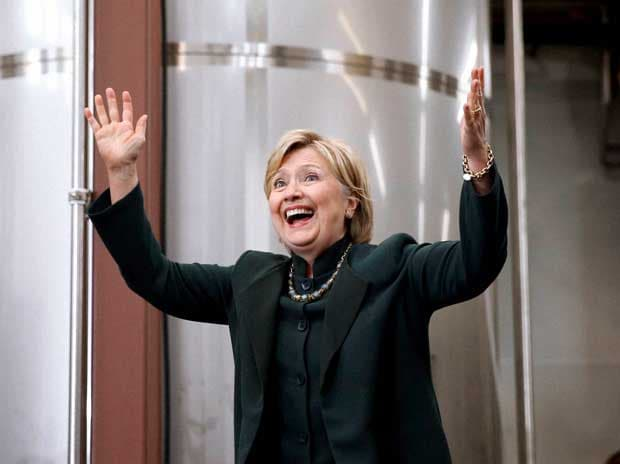 Democratic presidential candidate Hillary Clinton waves as she arrives at a campaign stop at Jackie O's Production Brewery and Tap Room in Athens, Ohio, Tuesday, May 3, 2016 AP/PTI