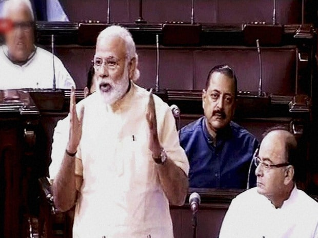 Prime Minister Narendra Modi  speaks in the Rajya Sabha in New Delhi