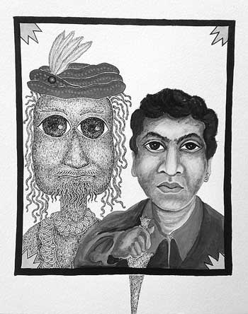Shyam making a selfie with Rembrandt. Rembrandt is rendered in Gond style and Shyam renders himself in Rembrandt's style