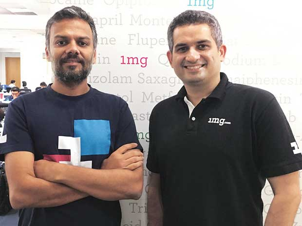 1mg co-founders Gaurav Agarwal (above left) and Prashant Tandon