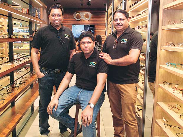 (From left) Lenskart founders Amit Chaudhary, Peyush Bansal and Sumeet Kapahi