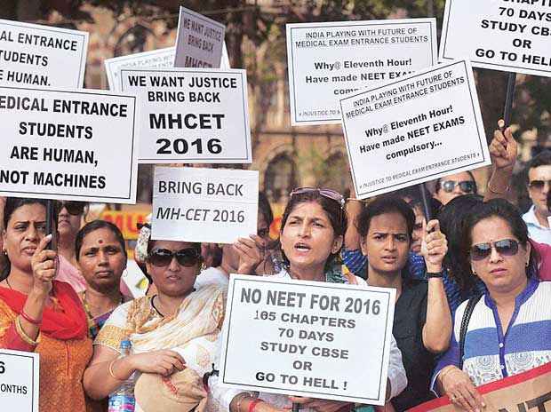 Earlier this month, parents and students stage a protest at Mumbai's Azad Maidan against the decision to  implement the NEET exam in 2016