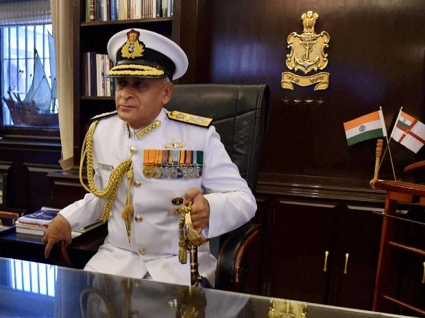 India's new Naval Chief, Admiral Sunil Lanba in his office