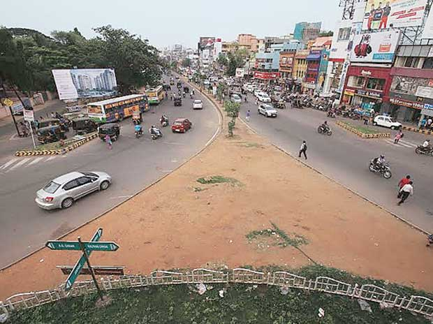 View of a busy city intersection from the flyover at Raj Mahal square in Bhubaneswar