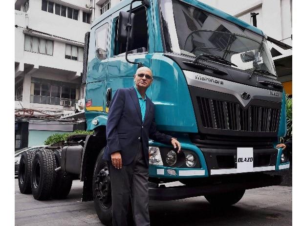 Nalin Mehta, CEO, Mahindra Truck and Bus Division, Mahindra & Mahindra Ltd poses during the launch of new HCV Truck Series,