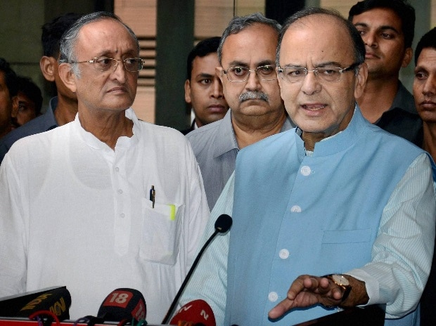 Union Finance Minister Arun Jaitley briefing the media with West Bengal Finance Minister Amit Mitra, during inauguration of  GSTN meeting with all states Finance Ministers of India,  in Kolkata