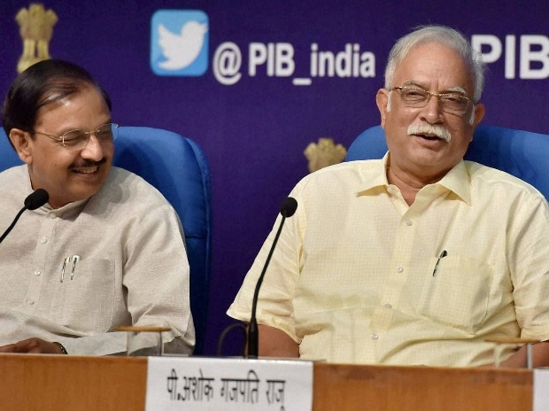 (From left to right) Union Civil Aviation Minister Ashok Gajpati Raju, MoS for Civil Aviation Mahesh Chandra Sharma