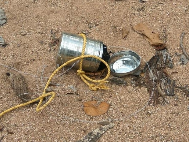2-kg tiffin bomb was recovered by Police in Dhamtari area of Chhattisgarh today. Photo: ANI