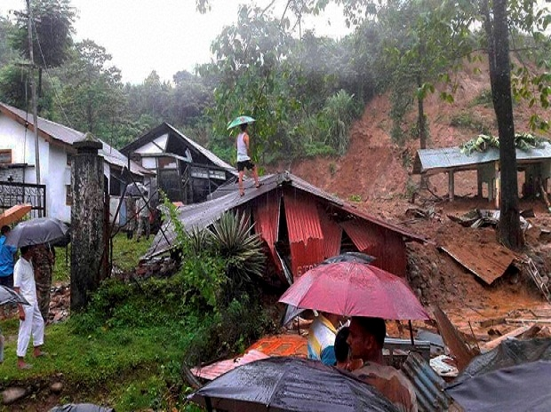 A damaged houses after landslide at upper Bhalukpung area of Arunachal Pradesh.