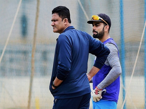 Team India head coach Anil Kumble with skipper Virat Kohli during the preparatory camp ahead of West Indies tour at National Cricket Academy ground in Bengaluru. (File Photo)