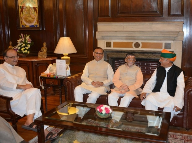 Newly appointed Ministers of State Finance Santosh Kumar Gangwar & Arjun Ram Meghwal called on FM Arun Jaitley and former MOS Finance Jayant Sinha at North Block, in New Delhi (pic: Ministry of Finance Twitter account)