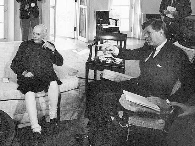 Prime Minister Jawaharlal Nehru with US President John F Kennedy at the White House in 1961