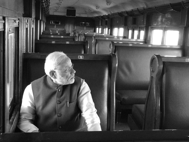 Prime Minister Narendra Modi retracing Mahatma Gandhi's train journey