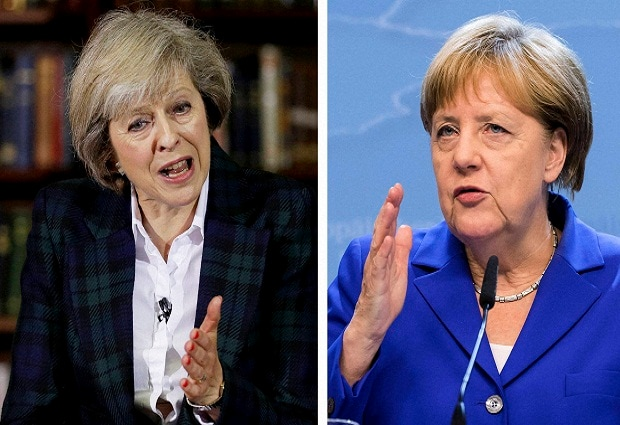 This combo photo shows Britain's Home Secretary Theresa May, left, launching her leadership bid in London and German Chancellor Angela Merkel speaking at an EU summit in Brussels.