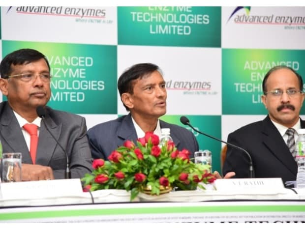 (From left) C L Rathi (MD, AETL), V L Rathi (ED, AETL) and Beni Rauka (CFO, AETL) at the IPO press conference for Advanced Enzyme in Mumbai