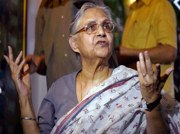 Former Delhi Chief Minister Sheila Dikshit talks to the media at her residence in New Delhi on Thursday after she was nominated as Congress party's Chief Ministerial candidate for the upcoming UP Assembly elections  Photo: PTI