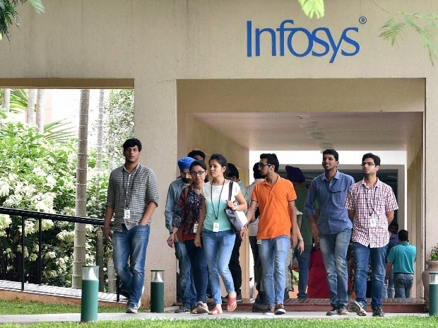 Infosys employees at its headquarters in