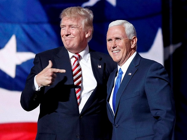 Republican presidential candidate Donald Trump and vice-presidential candidate Indiana Gov Mike Pence during the third day session of the Republican National Convention in Cleveland, on Wednesday