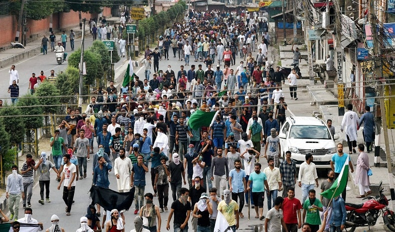 A protest rally, on the day state authorities lifted the 17-day old curfew, from downtown city crossing Shaheed Gunj on way to Lal Chowk the nerve centre of Srinagar on Tuesday Photo: PTI