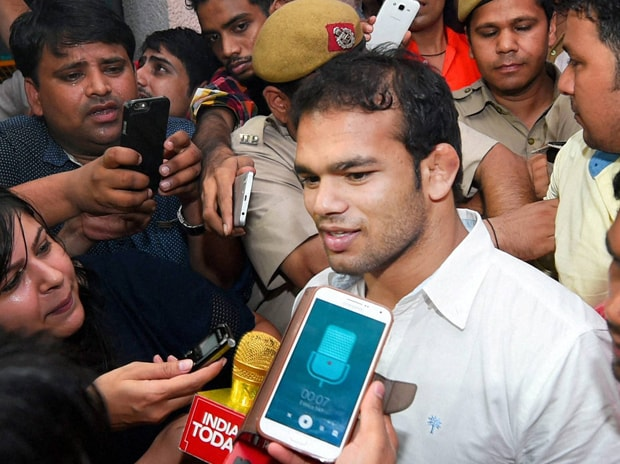 Wrestler Narsingh Yadav coming out of the NADA office after a hearing on his dope scandal, in New Delhi on Thursday. Photo: PTI