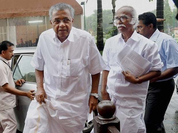 Kerala CM Pinarayi Vijayan at Parliament House in New Delhi on Friday Photo: PTI
