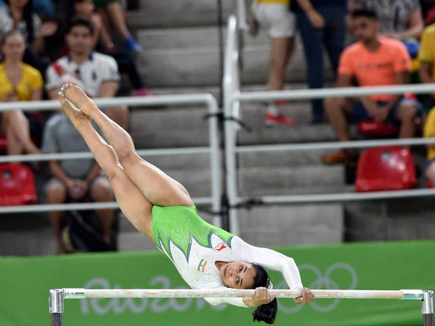 Indian woman gymnast  Dipa Karmakar participates in an event at the Rio Olympic 2016 in Rio de Janeiro. Photo: PTI