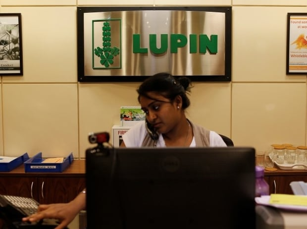 An employee of Lupin Limited works at a reception at their headquarters in Mumbai