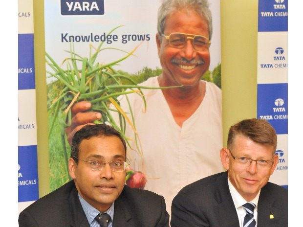 (From left to right) R Mukundan, Managing Director, Tata Chemicals and Terje Knutsen. Senior VP and Head of Crop Nutrition, in Mumbai (Pic: Suryakant Niwate)