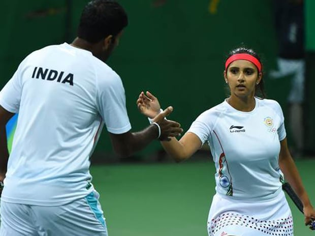 Sania Mirza and Rohan Bopanna in action during the mixed doubles game at the Olympics. Photo: Twitter