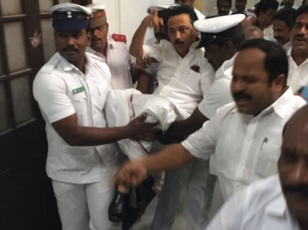 DMK chief Stalin being evicted out of the Tamil Nadu assembly