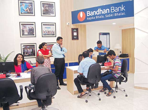 Customers at a Bandhan Bank branch in Kolkata