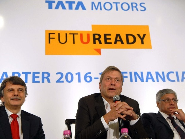 (From left to right)  Ralf Speth, Global CEO Jaguar Land Rover, Guenter Butschek, Tata Motors and Ravindra Pisharody, ED, Commercial Vehicles Business Unit, Tata Motors Ltd Ltd announcing company's Q1 results in Mumbai (Pic: Kamlesh Pednekar)